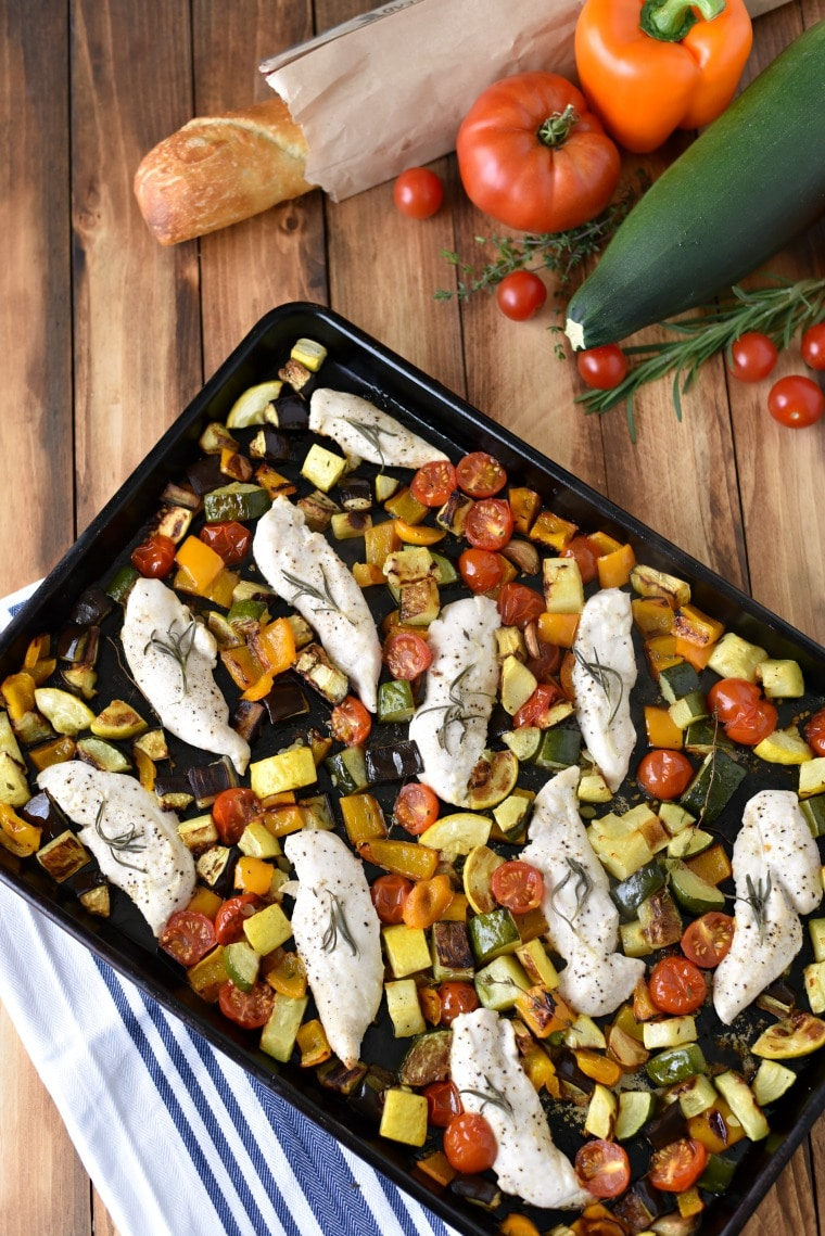 Sheet Pan Ratatouille Chicken Rosemary Chicken