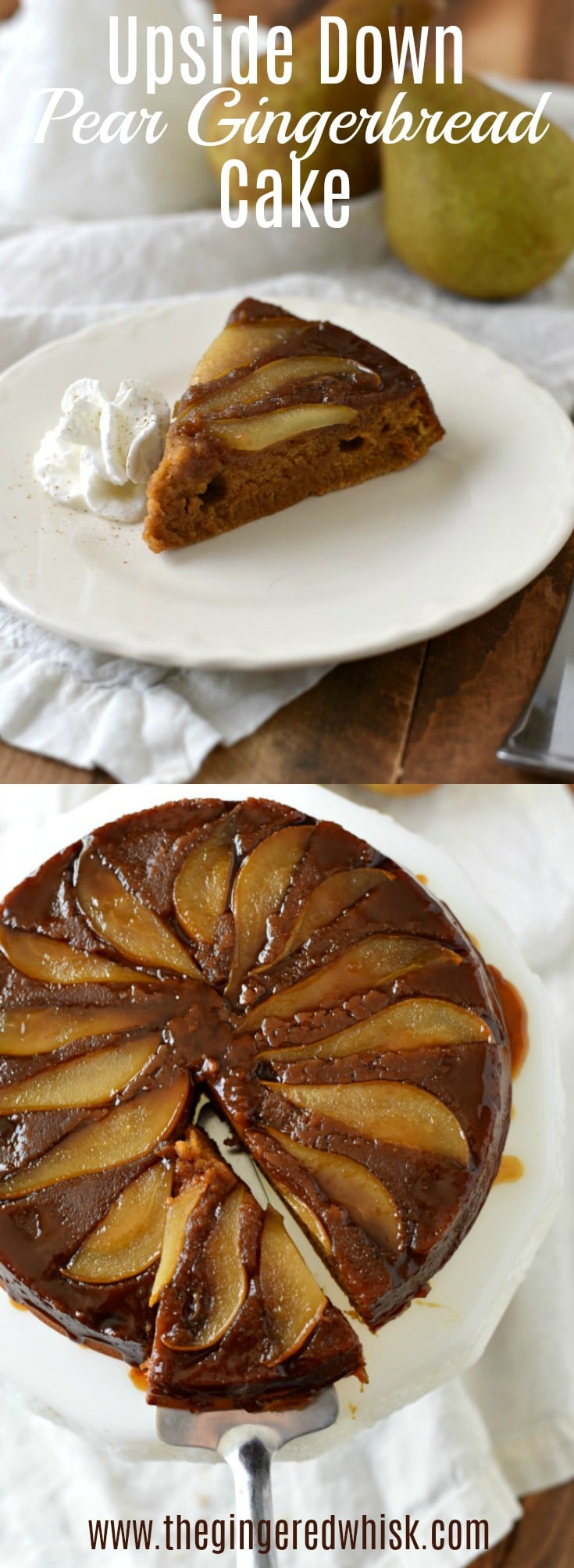 This almost effortless Upside Down Pear Gingerbread Cake is tenderly spiced with fall flavors, drizzled with an easy salted caramel sauce and studded with perfectly cooked pears. It is the perfect cake to serve to guests (or have for breakfast) when you need a beautiful yet easy fall dessert.