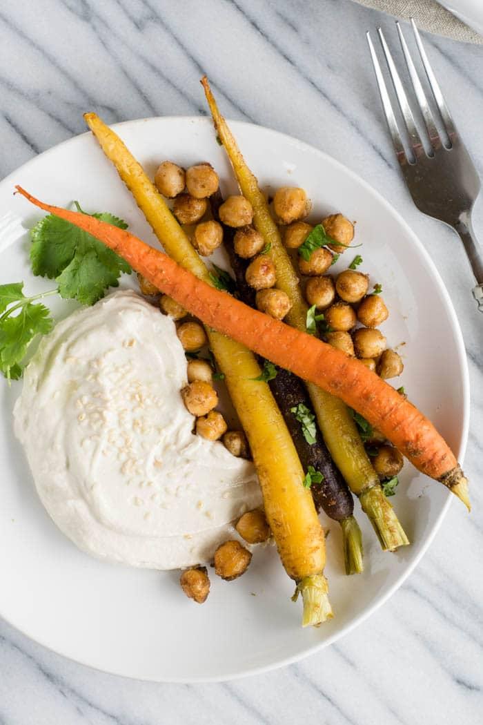 Cumin Roasted Carrots and Chickpeas with Tahini Yogurt ...