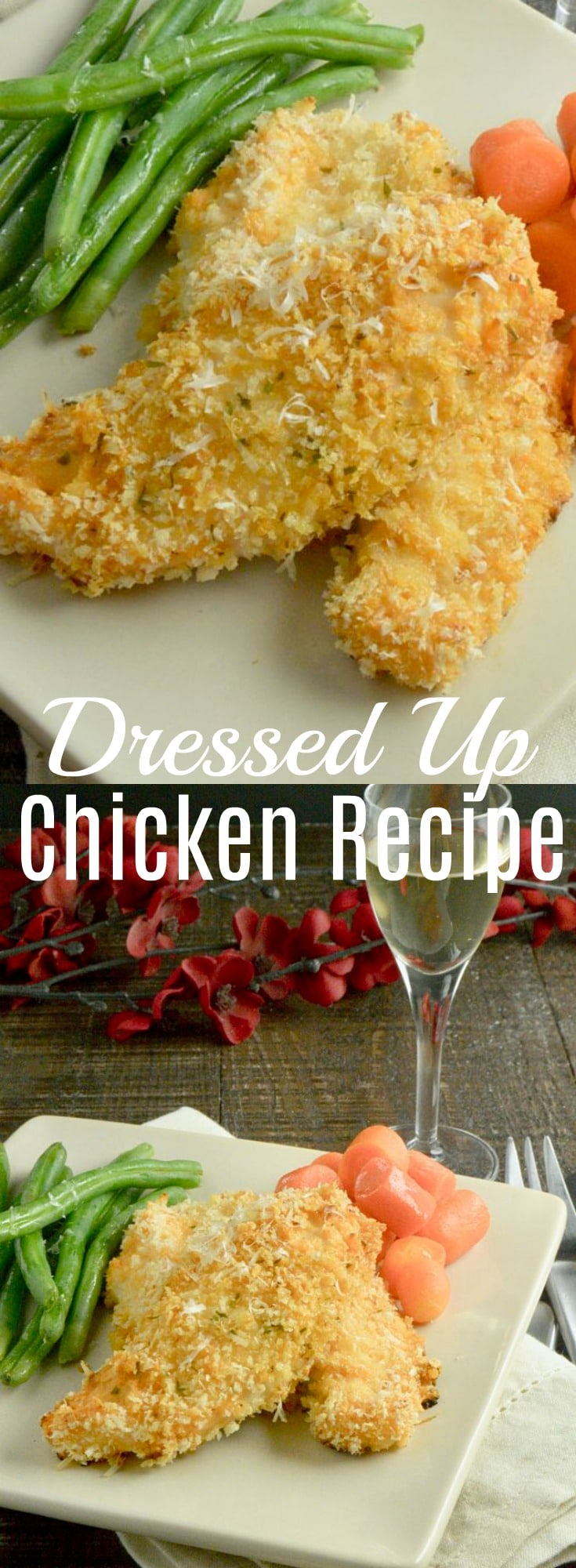 Dressed Up Chicken is an easy weeknight dinner recipe your family will love.  Its dipped in salad dressing, coated with parmesan herb panko and then baked until crispy.  Both kids and adults alike will enjoy it!