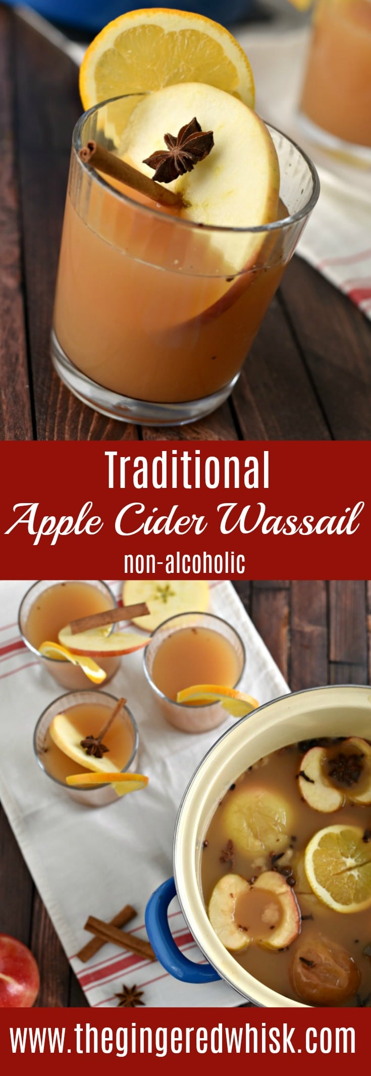 This traditional apple cider wassail is perfect for the holidays! Whether or not you go caroling, this non-alcoholic warm spiced drink recipe is perfect!