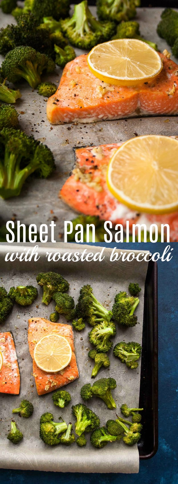 This sheet pan salmon with roasted broccoli is an easy and tasty weeknight meal your whole family will love! Ready in 20 minutes and filled with bright and fresh flavors! Salmon recipe, 20 Minute Recipe, Sheet Pan Meal,