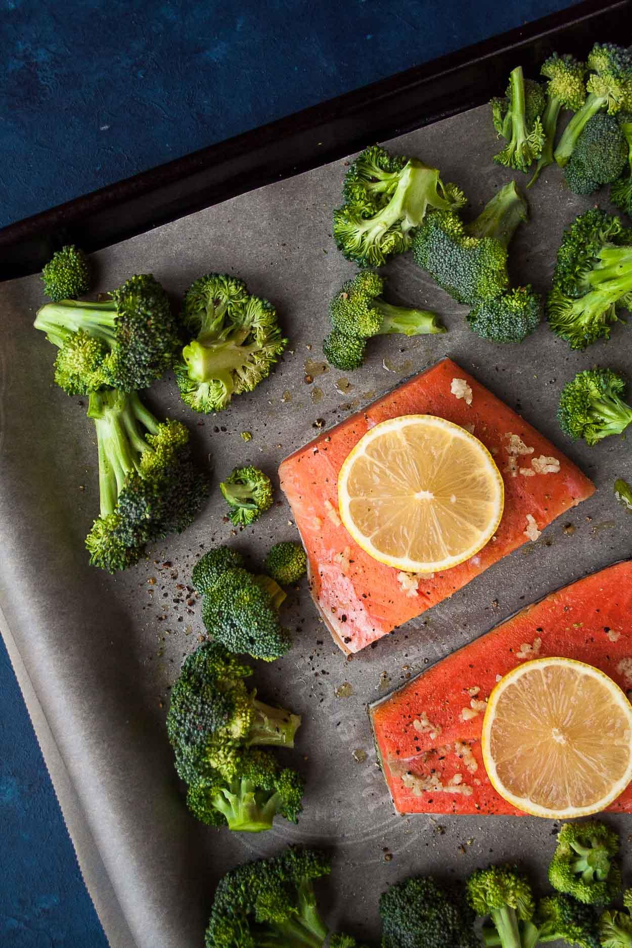 Sheet Pan Salmon Recipe with Roasted Broccoli