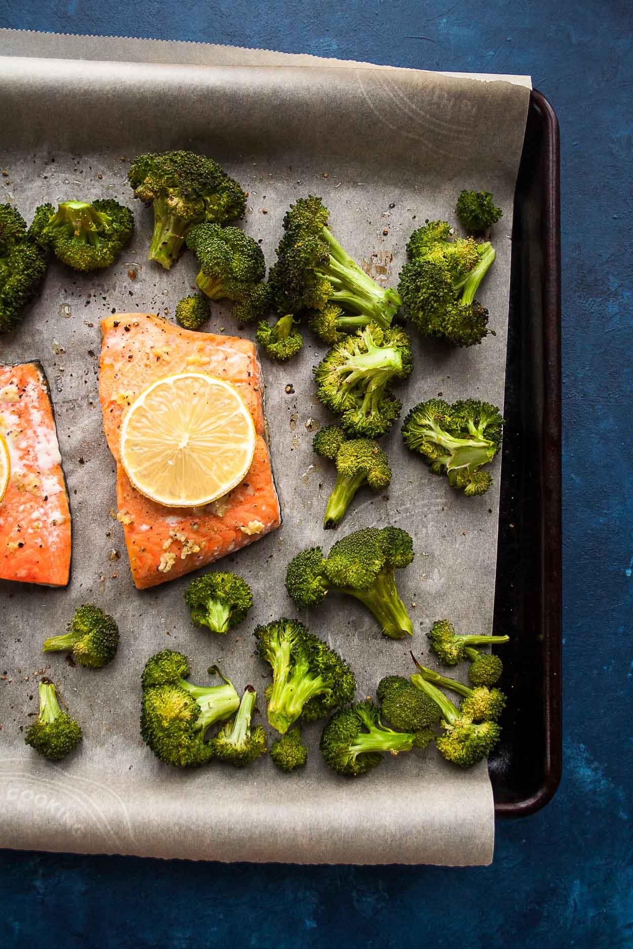 Sheet Pan Salmon with Roasted Broccoli