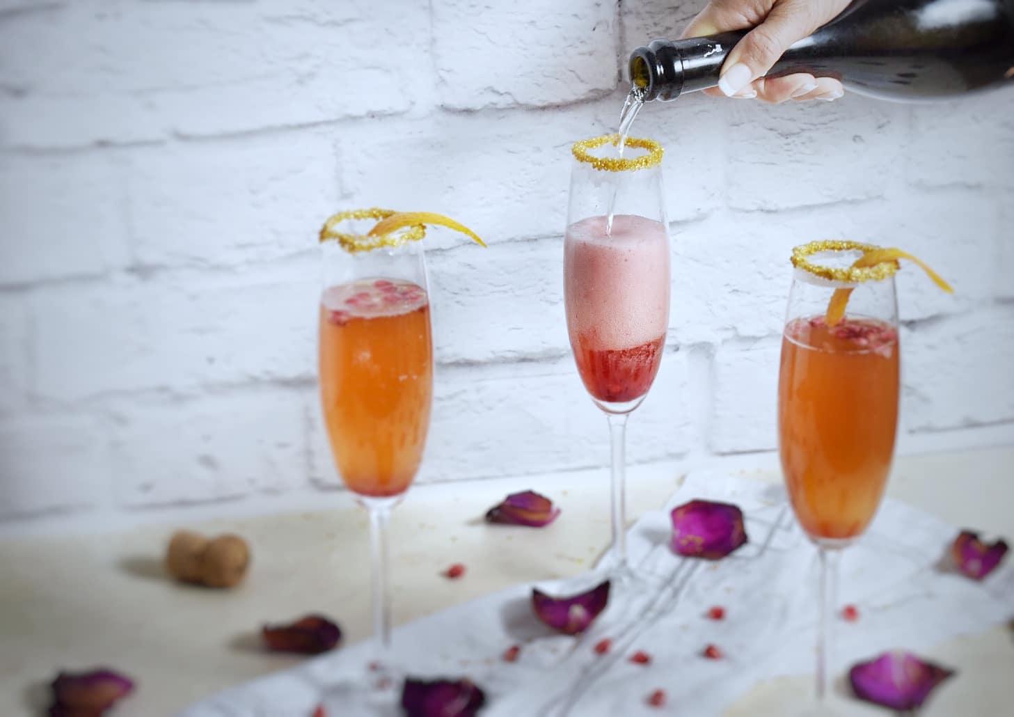 Orange Pomegranate Champagne Cocktail Recipe