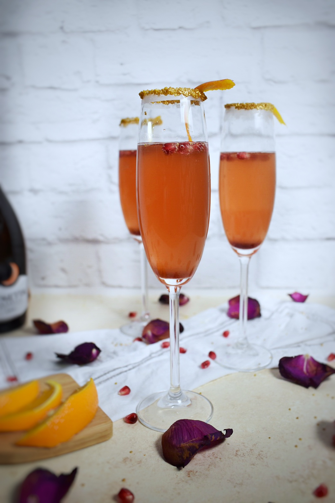 Champagne Cocktail Recipe - Orange and Pomegranate