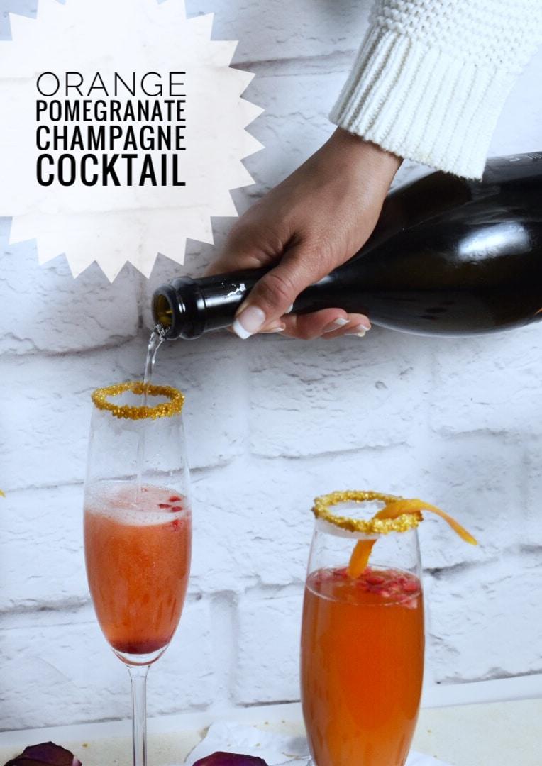 Orange Pomegranate Champagne Cocktail Drink Recipe