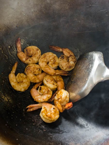 cooking shrimp in wok
