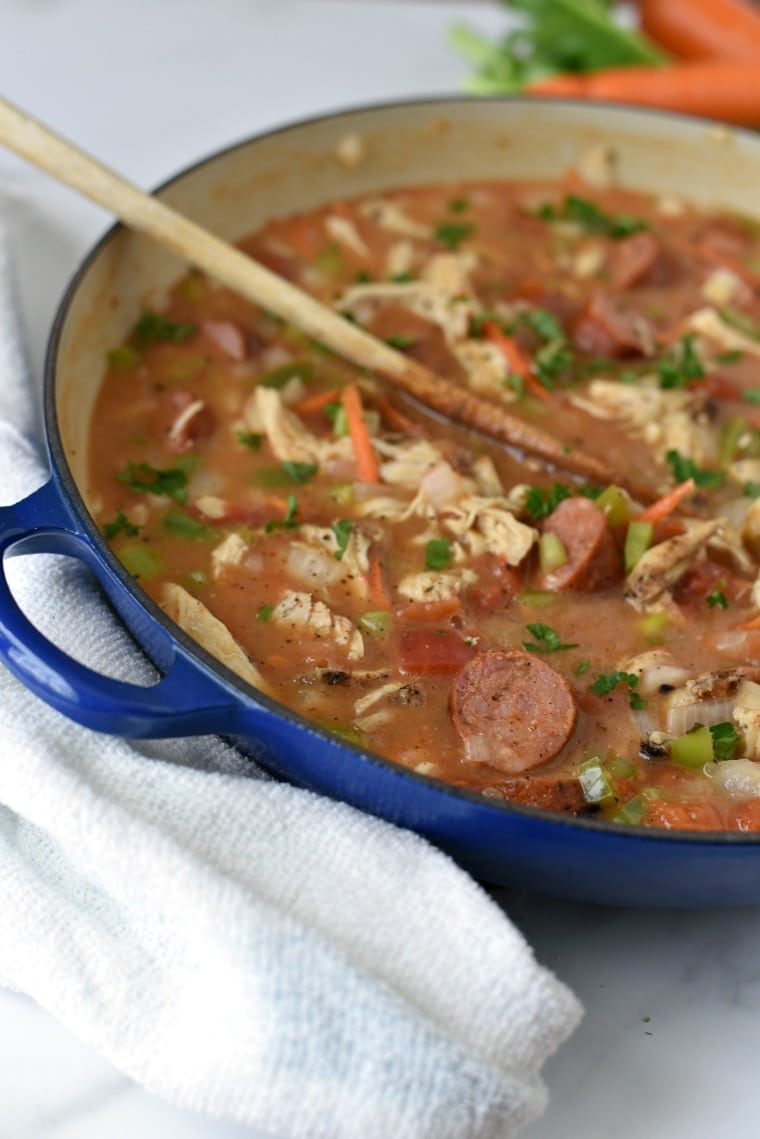 Easy Chicken Gumbo in blue le Cruset Pot