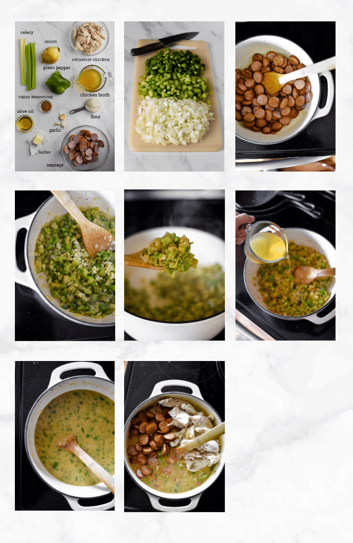 collage showing steps on how to make gumbo