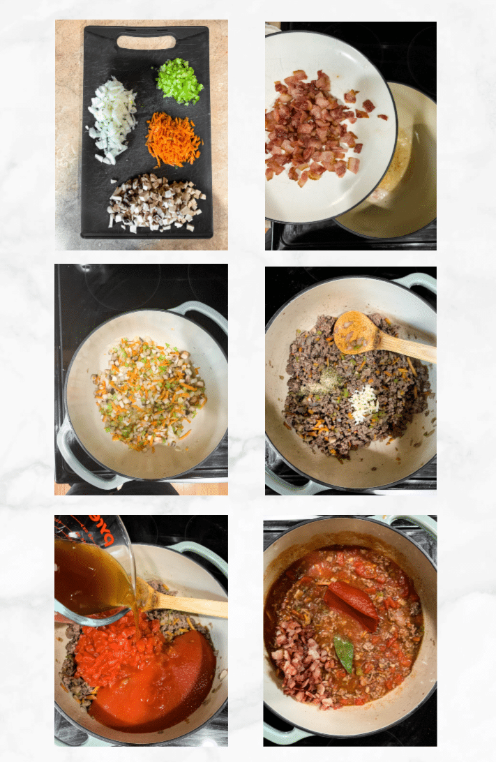 collage showing steps to make beef ragu