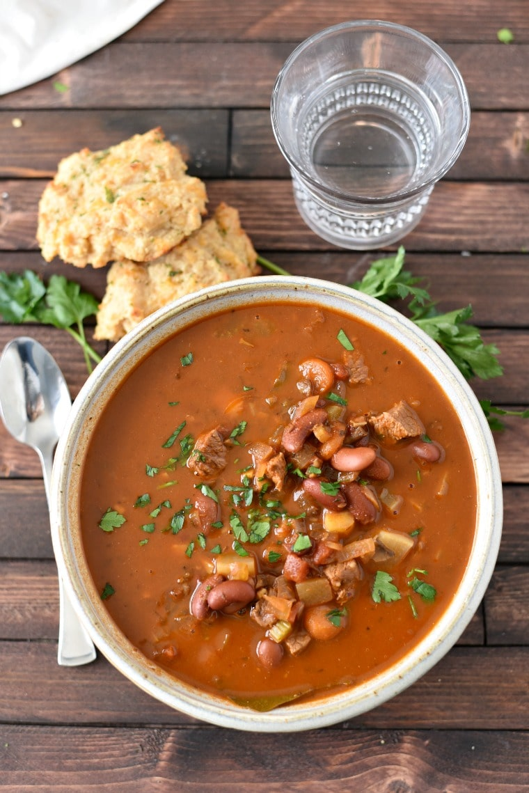 Bowl of Goulash with Biscuits