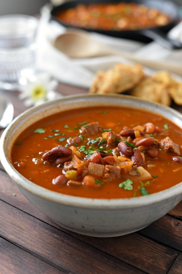 Hungarian Goulash in Bowl with Biscuits