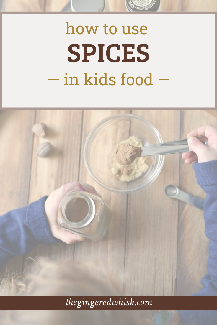 child's hands measuring spices for baking, with text overlay