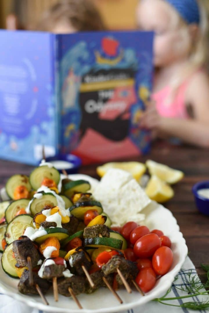 Children Reading The Odyssey with Beef Souvlaki Skewers