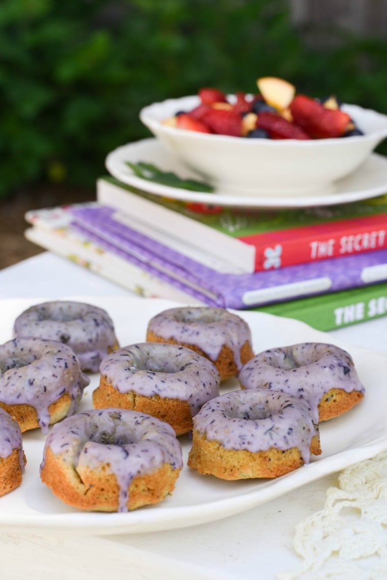 Chamomile Blueberry Donuts in Garden Party