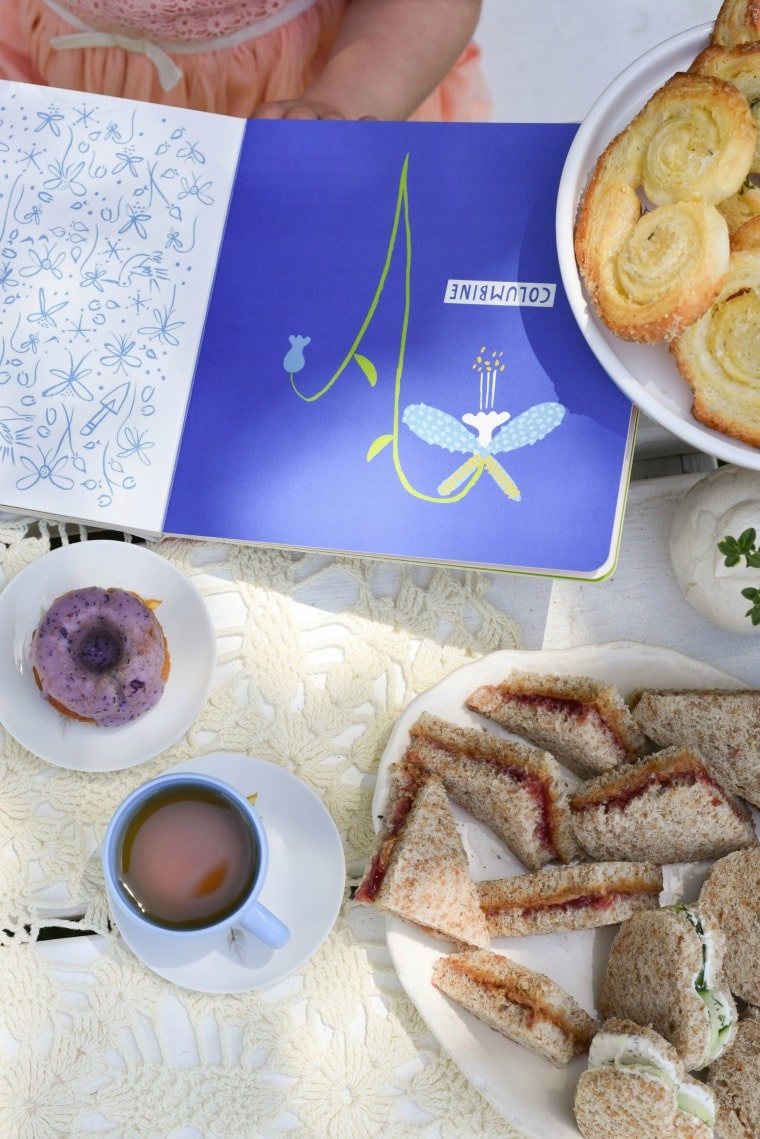 Blueberry Chamomile Donuts with Secret Garden Book