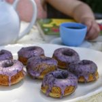 Chamomile Donuts with Blueberry Glaze