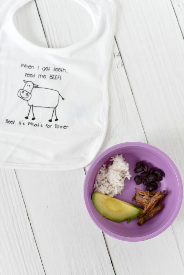 Baby bib with shredded beef