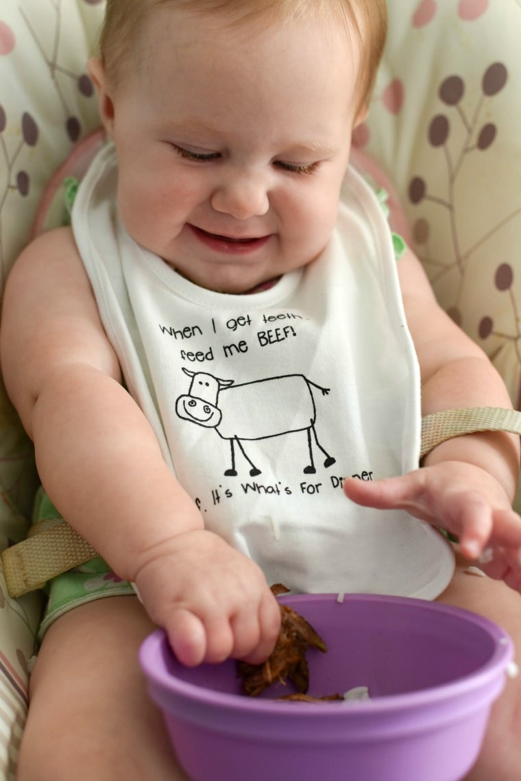 Baby Eating Beef