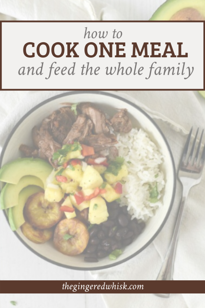 """a bowl with cuban beef and beans with text overlay reading """"cook one meal and feed the whole family"""""""