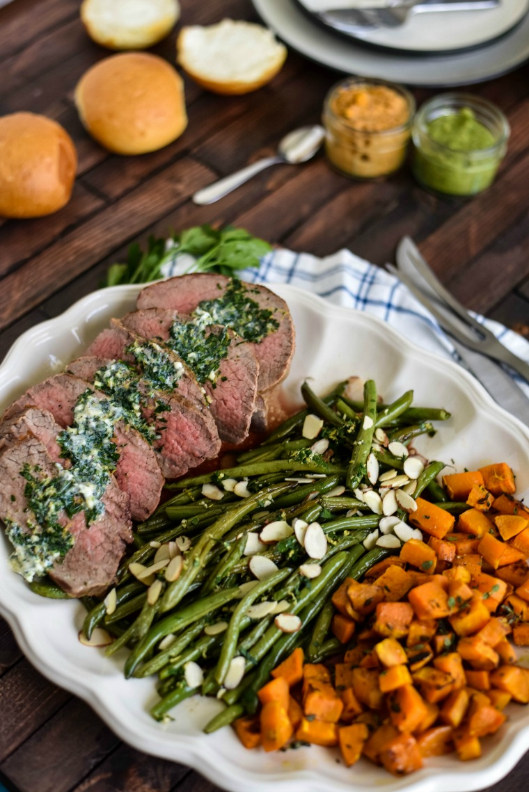 Herbed Steak with sweet potatoes and green beans and baby purees