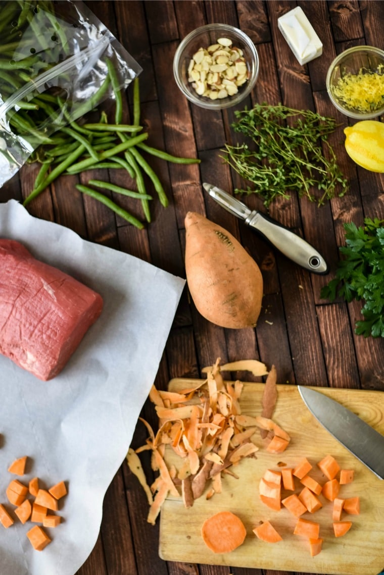 Ingredients needed for Herbed Steak Sheet Pan family meal recipe