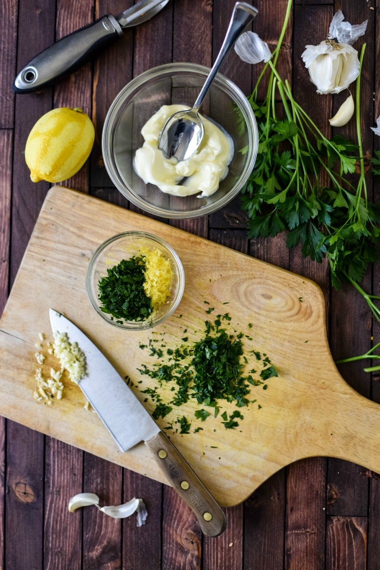 making lemon parsley gremolata for family meal recipe
