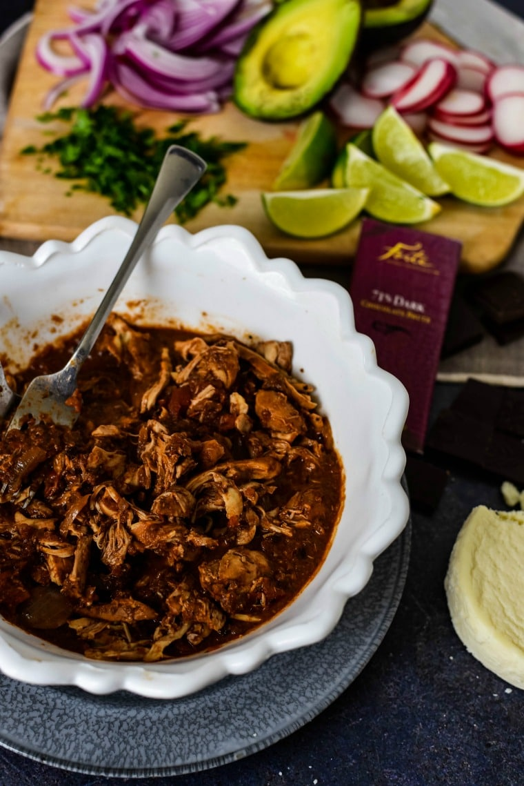 Shredded Chicken in Mole Sauce