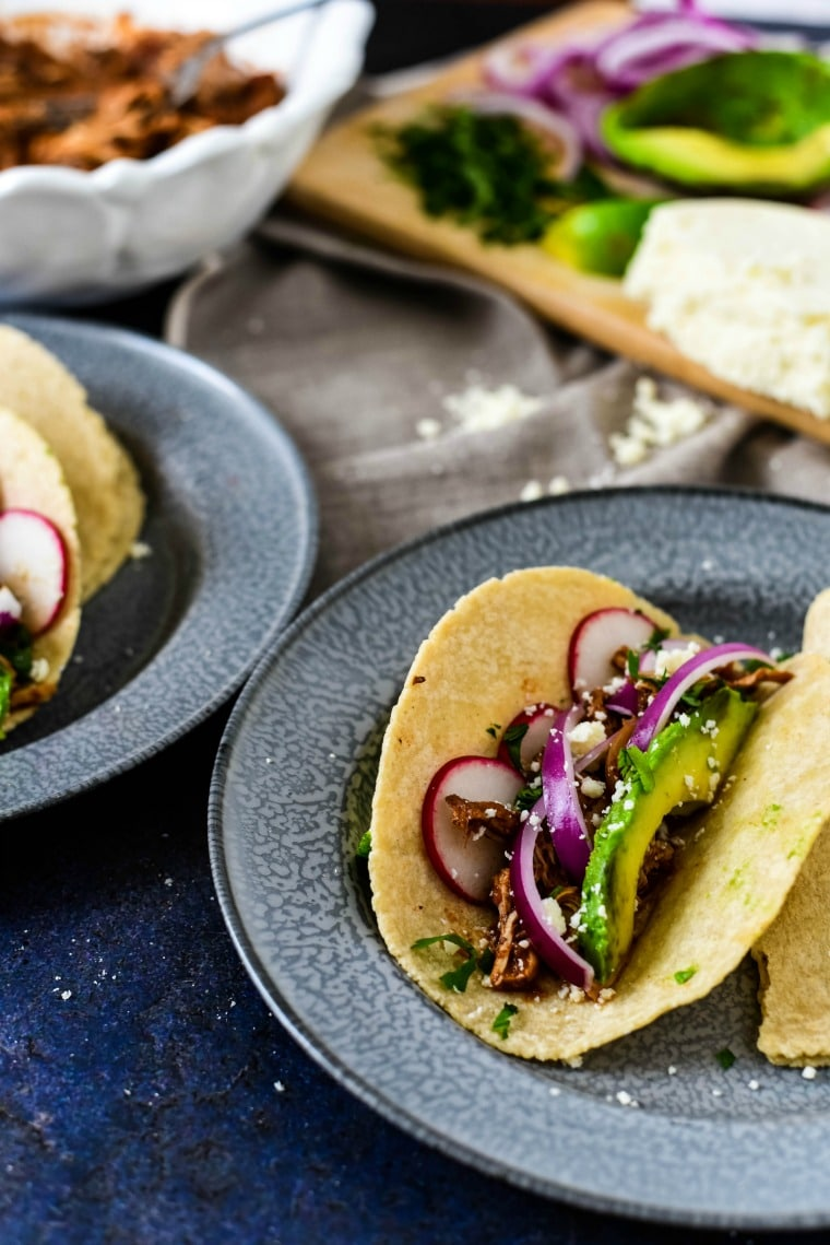 Tacos with slow cooker mole sauce