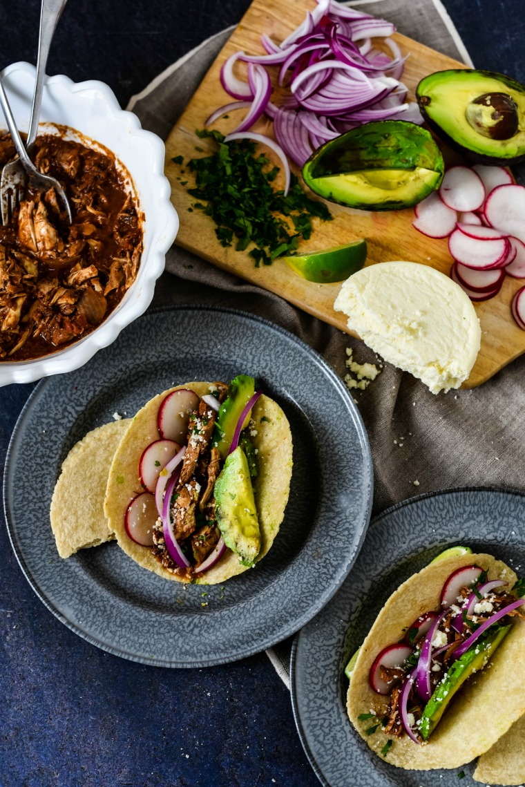 mole chicken tacos set up