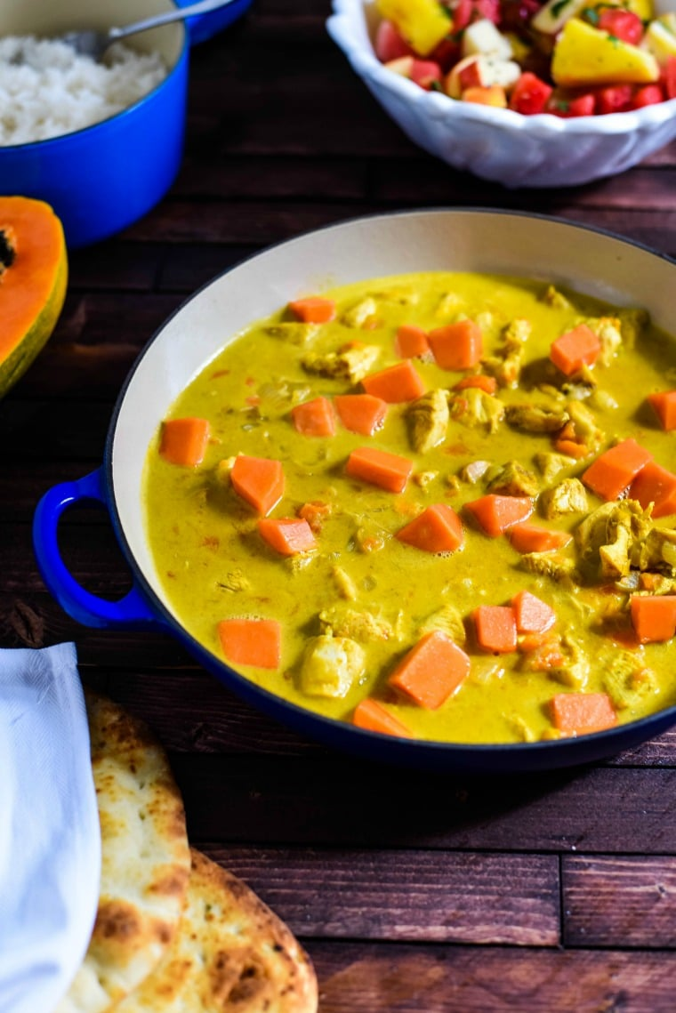 Chicken Curry with Papaya on Bowl