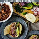 Slow Cooker Chicken Tacos in Mole Sauce
