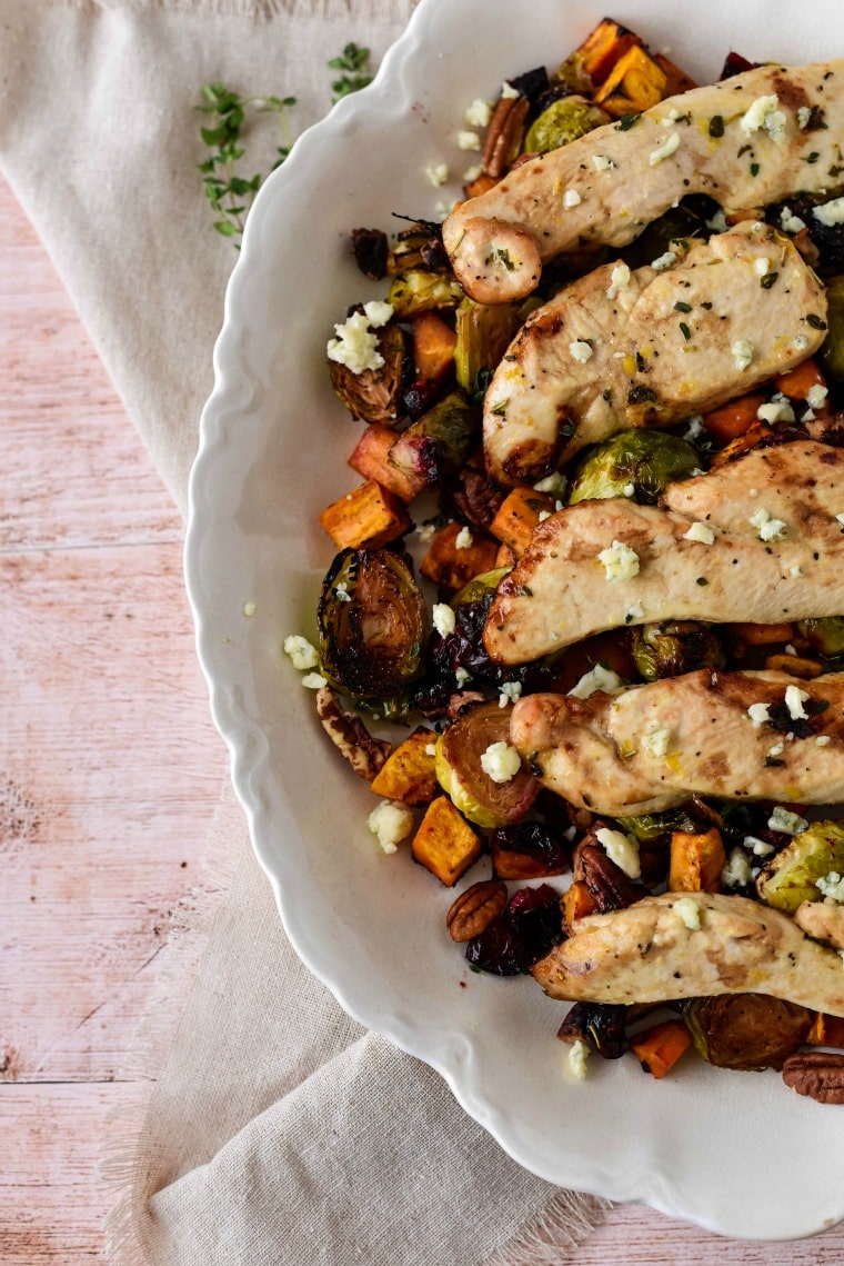 Chicken with Fall Rosated Vegetables and Cranberries