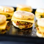 meal prep breakfast sandwiches ready to be frozen