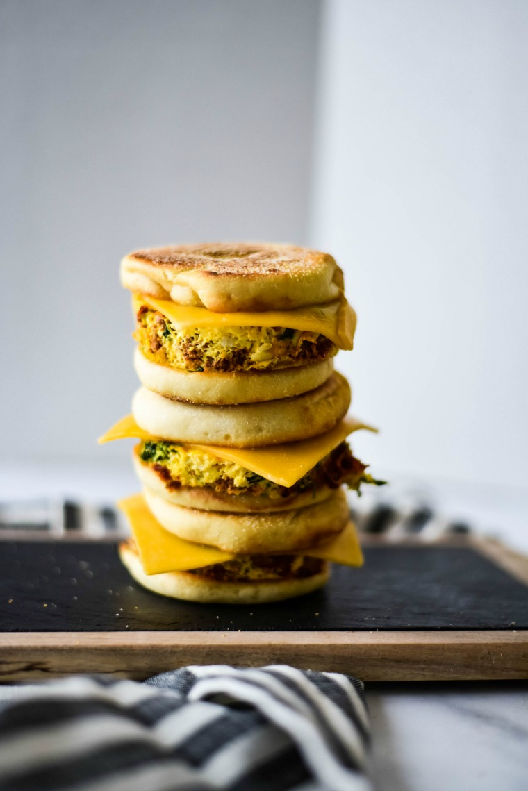 3 breakfast freezer sandwiches stacked on top of each other