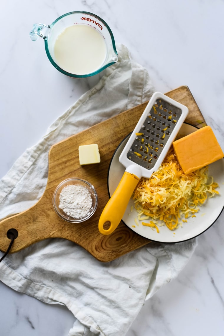 cheese, butter, milk and flour for cheese sauce