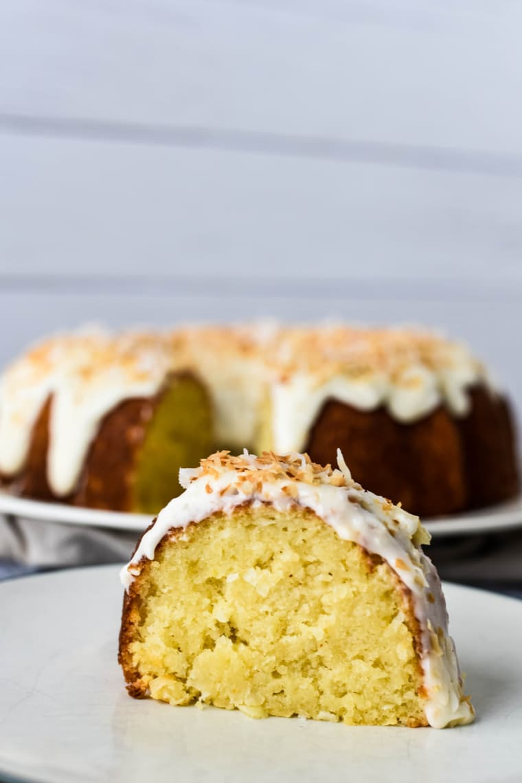 close up image of coconut cake bundt cake