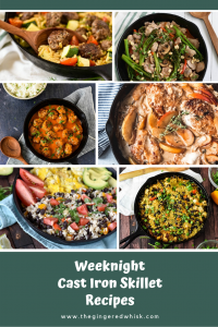 photo composite of cast iron skillet meals