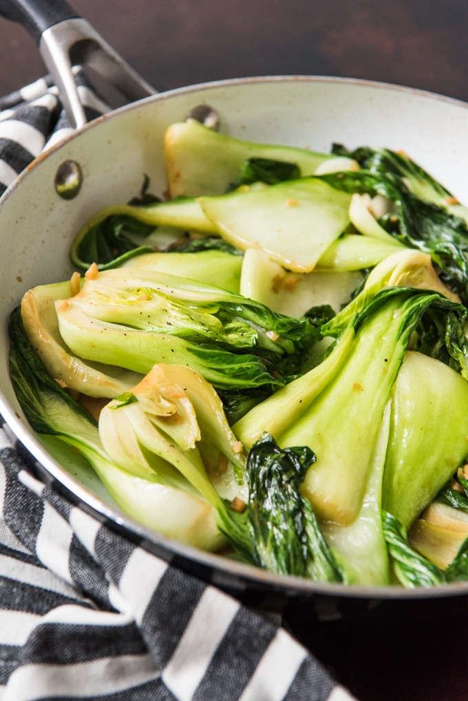 stir fried bok choy in pan