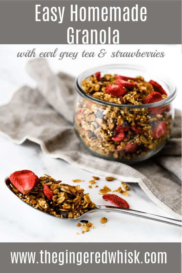 homemade granola in jar with spoon