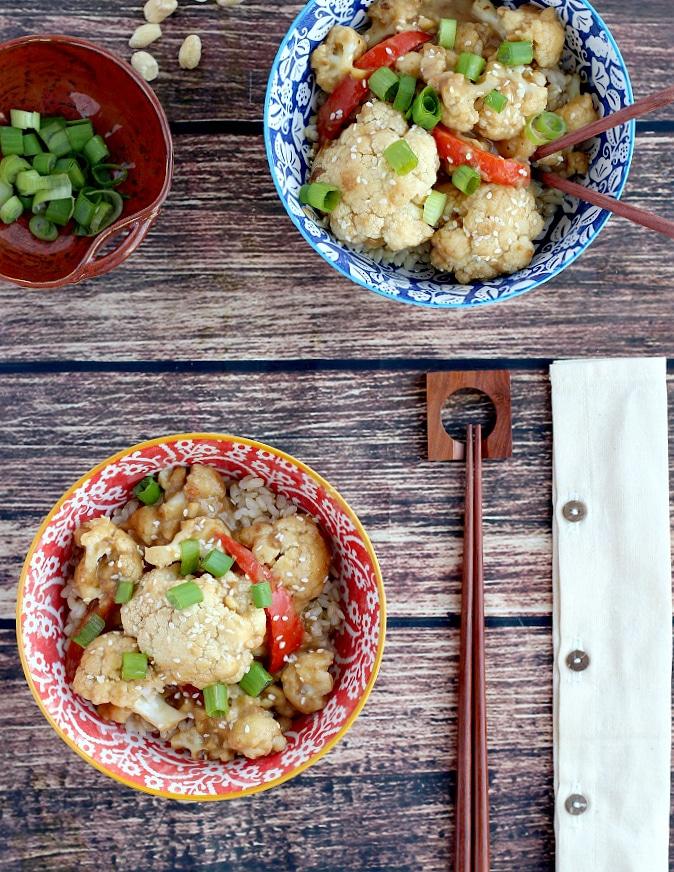 sesame peanut caulofwer in bowls