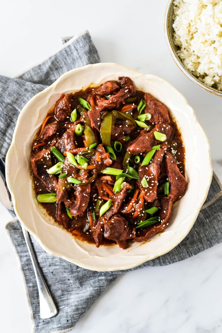 Slow Cooker Mongolian Beef in Serving Bowl