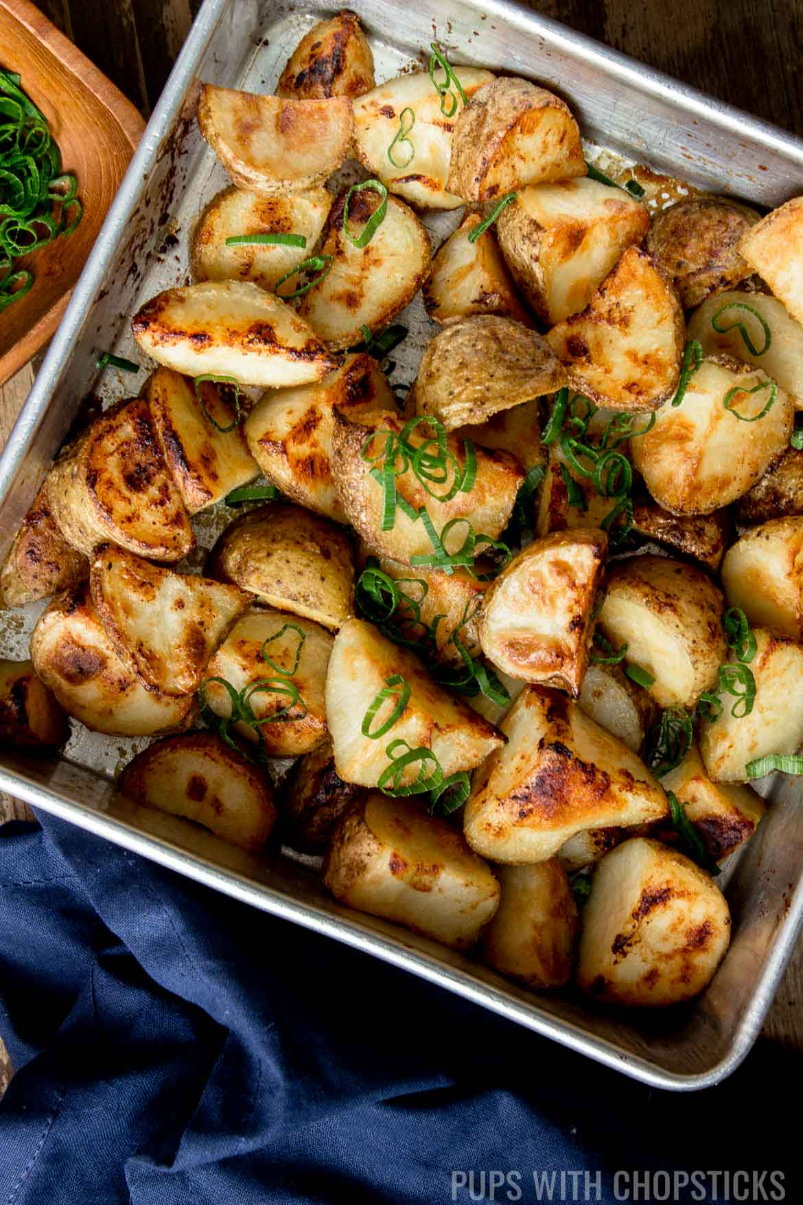 roasted potatoes recipe on tray