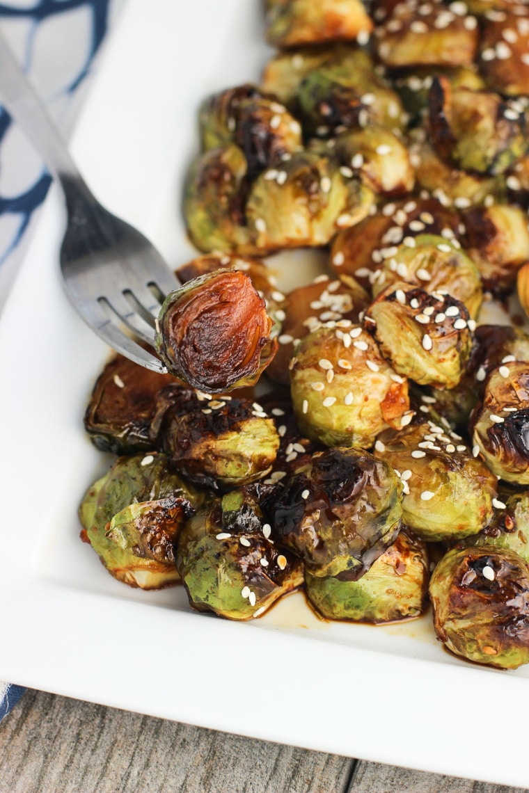 roasted brussels sprouts with fork