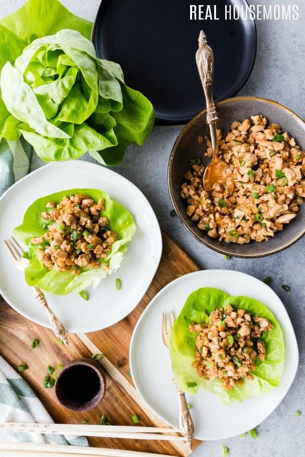 ground chicken recipe in lettuce wraps