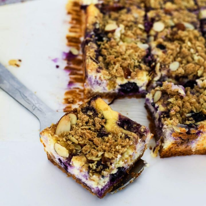 Lavender and Blueberry Cheesecake Bars