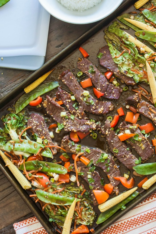 sheet pan recipe of beef teriyaki with vegetables