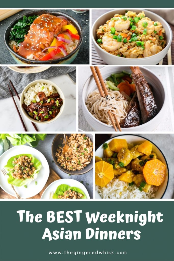 collage of weeknight asian meals