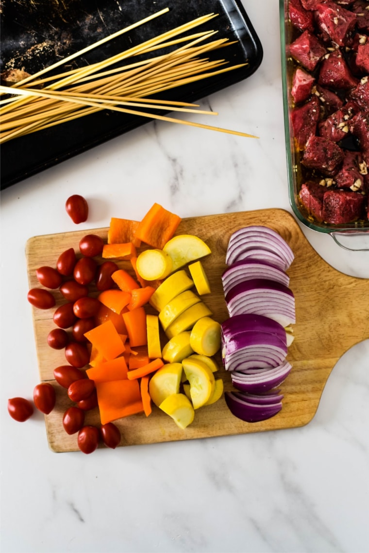 colorful veggies for grilled steak kabobs